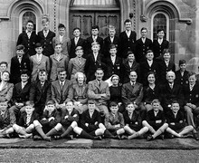 Group of pupils and staff evacuated to Hartree House near Biggar during the 2nd World War, Summer Term 1944