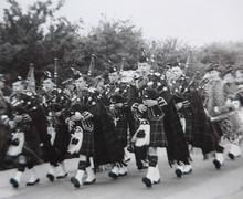 March past of the Pipe Band at Summer Camp, 1956