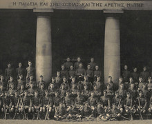 Officers' Training Corps in front of Main Hall, 1911