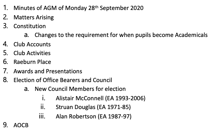 Agenda for Monday 4 October 2021 AGM